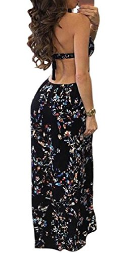 Coolred-femmes Backless Licol Laçage Floral Manches Robe Ajustée As1 Midi
