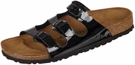 826f7af9c808 Birkenstock Women s Florida Soft Footbed Birko-Flor Black Varnish Sandals -  38 (étroit)