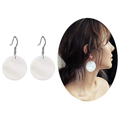 Elensan Woman's White Shell Round Shaped Ear Hook Fashion Jewelry Dangle Girls Earrings(4cm 925 Silver) -