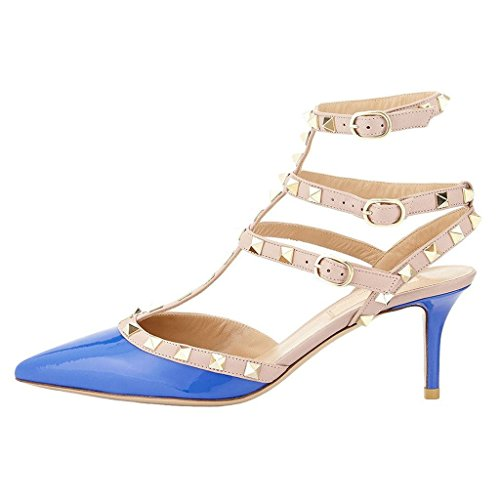 Blu Straps Pompe Rivetti lackleder Sandali Blau Ladies EKS Stiletto Spikes wYUqx1n0I
