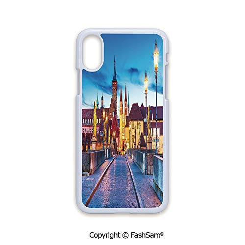 Plastic Rigid Mobile Phone case Compatible with iPhone X Black Edge Colorful Sunset Evening View of Old Main Bridge in Historical Land Bavaria Germany 2D Print Hard Plastic Phone Case