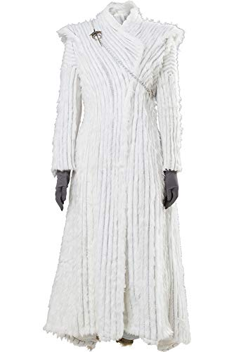 Cosplaysky Game of Thrones Costume Season 7 E6 Daenerys Targaryen White Snow Dress Small