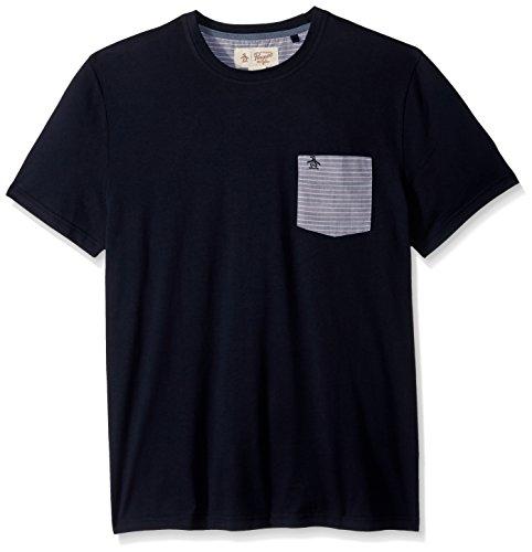 Original Penguin Men's Short Sleeve Stripe Slub Tee, Dark Sapphire, Medium