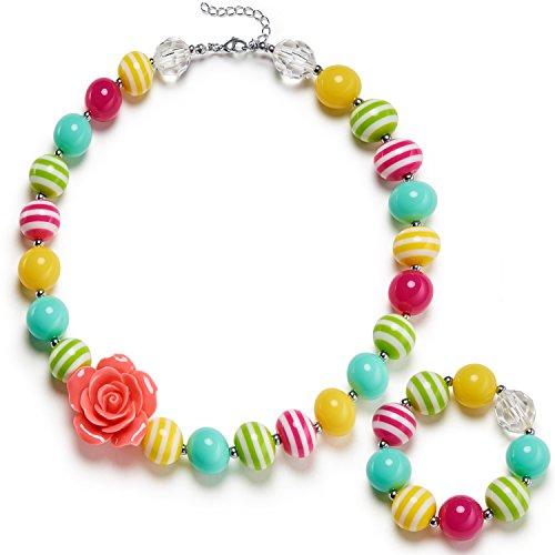 Chunky Bead Jewelry - Vcmart Girls Necklace and Bracelet Set Chunky Bubblegum Beads Kids Jewelry with Gift Box