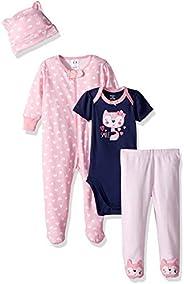 Gerber Baby-Girls 4-Piece Sleep 'N Play, Onesies, Pant and