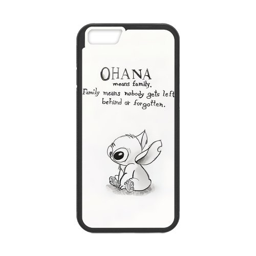 Fayruz- Personalized Protective Hard Textured Rubber Coated Cell Phone Case Cover Compatible with iPhone 6 & iPhone 6S - Lilo and Stitch OHANA F-i5G874