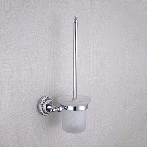 Goodscene AiRobin-Contemporary Brass Chrome Plated Blue and White Porcelain Soap Dish Wall Mounted Bathroom Accessory Shower Sink Drainer for Soap (Color : Toilet Brush Holder)