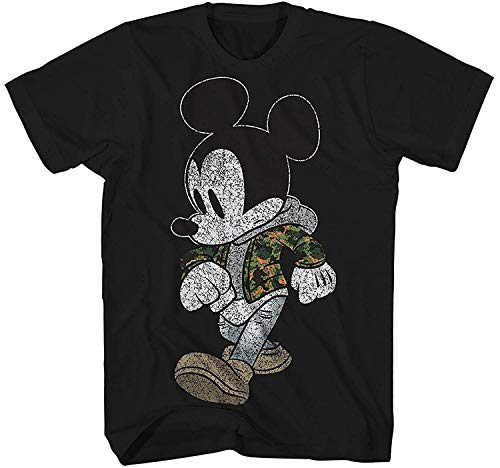 Mickey Mouse Camo Hyped Disneyland World Retro Classic Vintage Tee Funny Humor Adult Mens Graphic T-Shirt Apparel (3XL, Jet Black) (Of Mice And Men Merchandise)