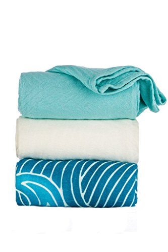 Tula Baby Blanket Set, 3 Pack of 47x47 Inches, 100% Viscose from Bamboo Unisex Swaddle Blankets - Waves (Waves, Light Blue, White)