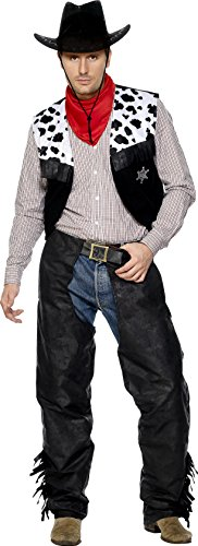 Smiffy's Men's Cowboy Costume, Chaps, Waistcoat, Belt and Neckerchief, Western, Serious Fun, Size M, 31754