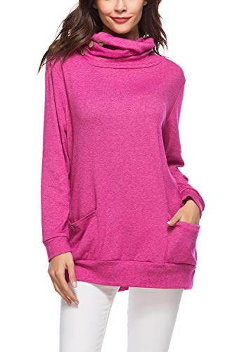 Glomeen Womens Long Sleeve Blouse Button Cowl Neck Casual Tunic Tops Sweatshirt Red
