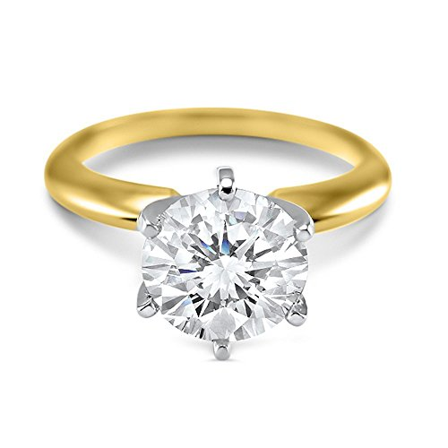 14k Yellow Gold Round Forever ONE hearts and arrows Moissanite 6 prong solitaire engagement ring