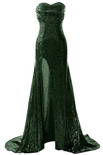 Prom Mermaid Gown Slit Evening Dark Formal Sequin Long Dress Gorgeous Green With Macloth aqW1pgwtn