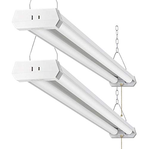 LED Shop Light for garages,4FT 4800LM,42W 5000K Daylight White,LED Ceiling Light, LED Wrapround Light, with Pull Chain (ON/Off),Linear Worklight Fixture with Plug, cETLus Listed 2Pack 50K (Shop Light)