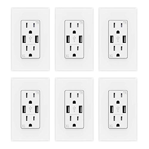 ELEGRP USB Charger Wall Outlet, Dual High Speed 3.6 Amp USB Ports, 15 Amp Duplex Tamper Resistant Receptacle NEMA 5-15R, Wall Plate Included, UL Liste (6 Pack, White)