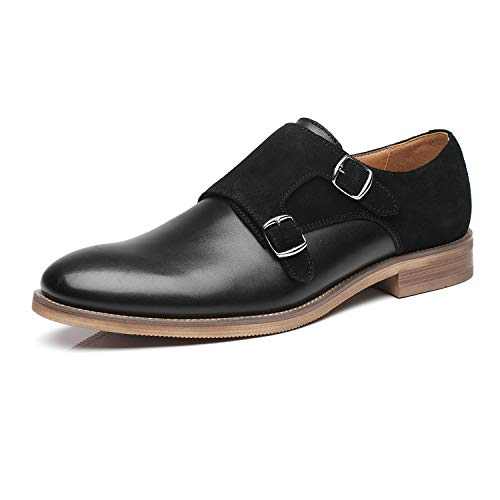 - La Milano Patina Collection Leather and Suede Double Monk Strap Dress Shoe