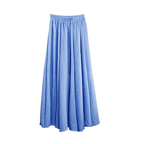 Jupe 2 Confortable Femme MISSMAO Danse Casual Voyager Quotidien lastique Longue Plisse Bleu Jupe Porter pour p4aIqwT