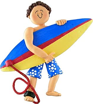 Brown Hair Male Surfer Christmas Ornament Ornament Central