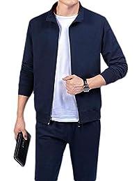 pipigo Men's Jacket Coat Pants Casual Outfits Sport Running 2 Piece Tracksuit Set