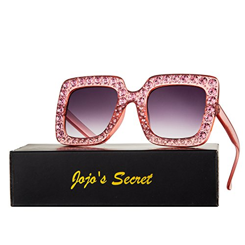 JOJO'S SECRET Crystal Brand Designer Retro Oversized Square Sunglasses For Women JS001 (Pink/Grey, - Glasses Square For A Face