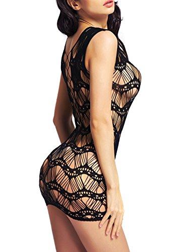 Amoretu Womens Lingerie Sleeveless Stripe Fishnet Mini Dress Chemise