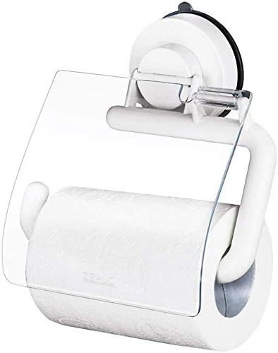 Toiletten-Rolle Toilettenpapier europäischen ABS-Saugnapf Rolle Badezimmer Küche wasserfesten Papier Handtuchwärmer Handtuchwärmer Weiß 15x15.5x4cm mit Deckel Xping