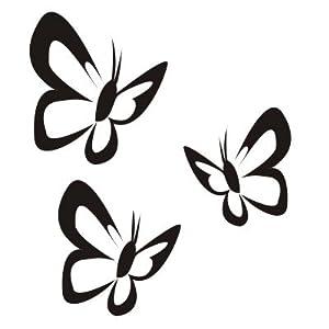 wall sticker w400 3 butterflies wall print - black: Amazon