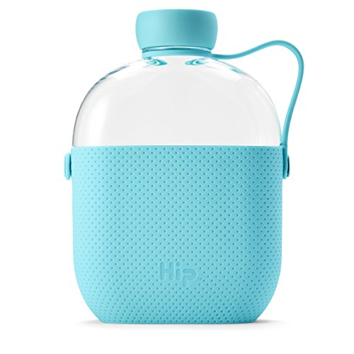 Hip 22-oz Flat Water Bottle Flask with Textured Silicone Sleeve and Carrying Handle - Tritan BPA-Free Plastic (Ocean)