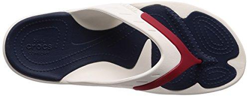 Crocos Modes Unisexe Adultes Orteil Flip Sports Trenner Blanc / Bleu Marine / Argent
