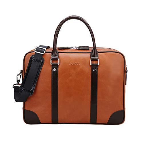 "Banuce Vintage Full Grain Oil-Waxed Leather Briefcase for Men Women Handbag Business 14"" Laptop Attache Case Tote Shoulder Messenger Bag"