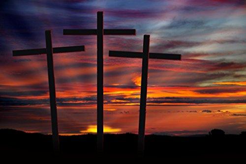(Three Crosses at Sunset Inspirational Photo Art Print Poster 18x12 inch)