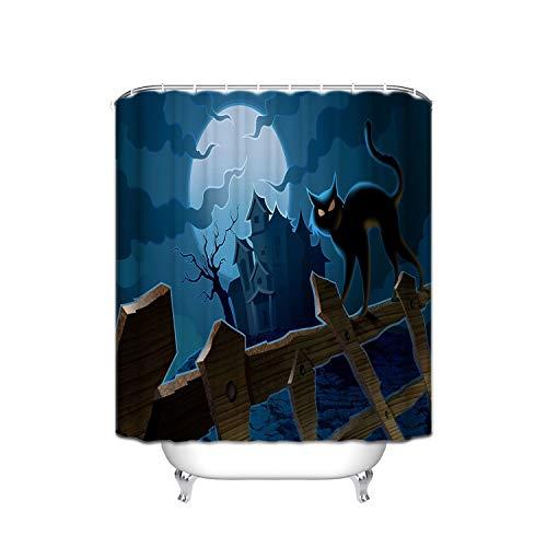 FANNEE Black Cat Shower Curtain Mold Resistant 54