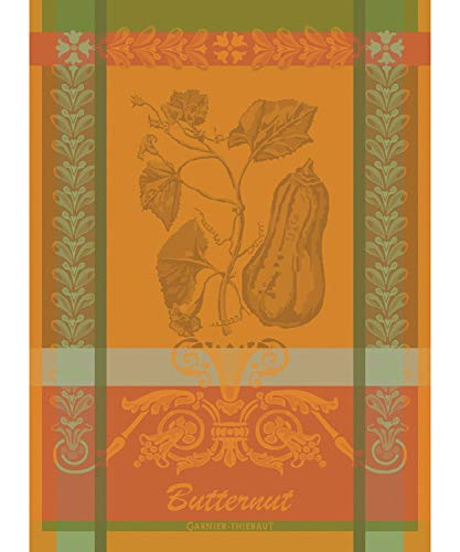 Garnier-Thiebaut, Butternut, Orange French Jacquard Kitchen/Tea Towel, 100% Cotton, 22