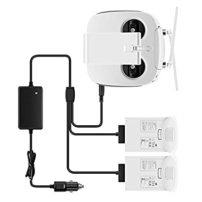 Rantow Phantom 4 Battery Car Charger - Charge 2 Batteries + 1 Remote Controller at the Same Time - Car Charger Adapter for DJI Phantom 4/4 Pro/Pro+/Advanced