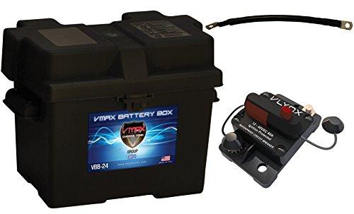 "Group 24 Battery Box Boat Kit: Marine Grade Group 24 Battery Box + 9"" 100% Copper Cable + 60 Amp Waterproof Circuit Breaker."
