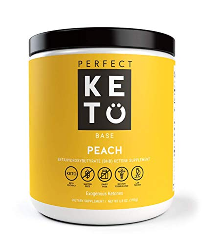 Perfect Keto Exogenous Ketones: Base BHB Salts Supplement. Ketones for Ketogenic Diet Best to Burn Fat to Support Energy, Focus and Ketosis Beta-Hydroxybutyrate BHB Salt (Peach)