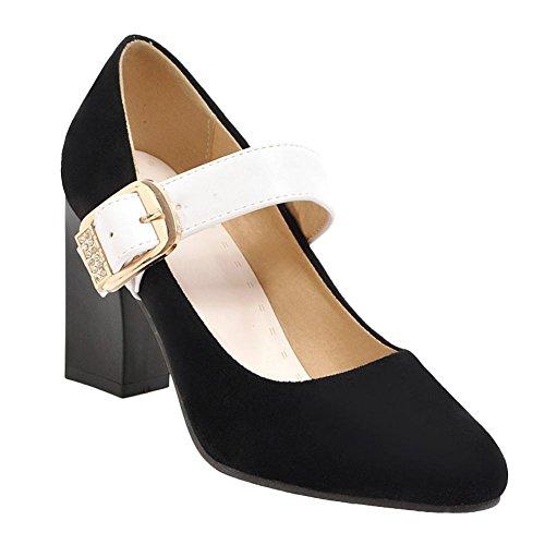 Mee Shoes Women's Charm Buckle Block Heel Court Shoes Black