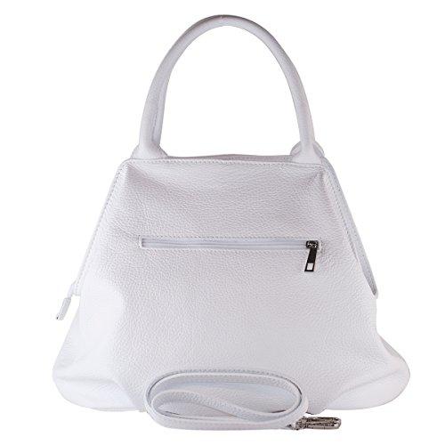 Cuir en Femme Blanc Made in 100 GIADA Sac Italy BORDERLINE wqxAY0n77