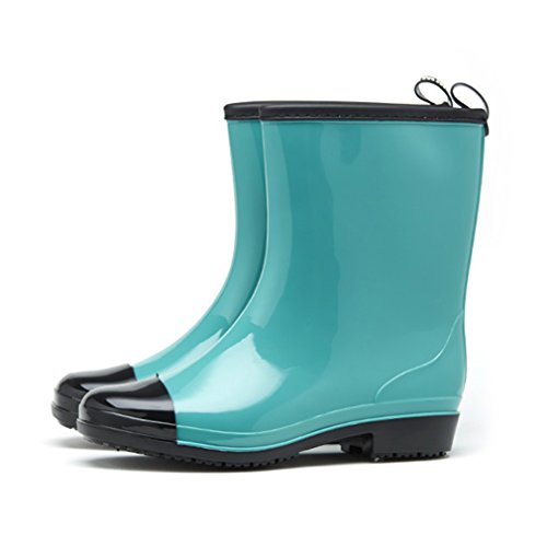 Heel Half Boot Calf Women's Garden Candy Block Green Color Rain Boots aUqYtFwq
