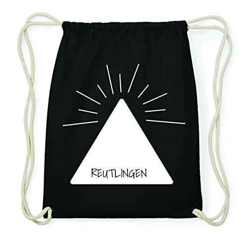 JOllify REUTLINGEN Hipster Turnbeutel Tasche Rucksack aus Baumwolle - Farbe: schwarz Design: Pyramide
