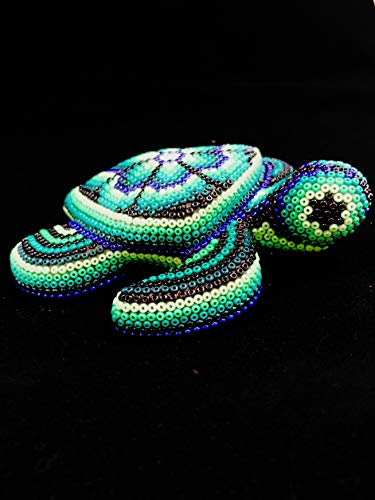 SERENDIPIA Handmade Huichol Animals Beaded Original Mexican Art (Turtle, Whale, Dolphin, Donkey, Snake, Frog, Fish,Parrot) (Turtle)