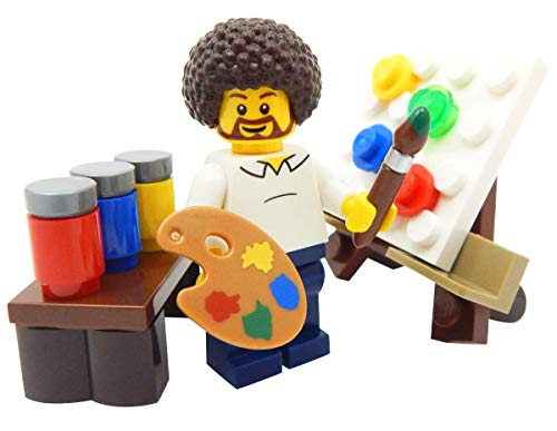 (LEGO Hippie Artist with Easel, Paint, & Paintbrush Toy - Custom Painter)