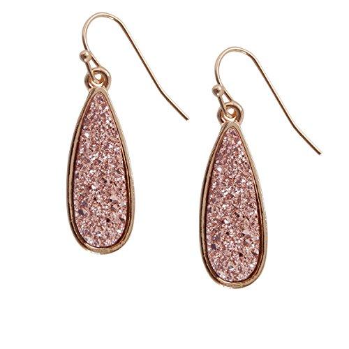 Humble Chic Simulated Druzy Petal Drop Dangles - Sparkly Bezel Set Teardrop Earrings, Rose Gold-Tone, Metallic Pink, (Gold Costume Jewelry Earrings)