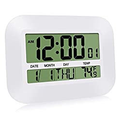 HeQiao Silent Desk Clocks 12 Inch Digital Wall Clock Simple Large LCD Alarm Clock with Temperature Calendar for Home Office (Ivory White)