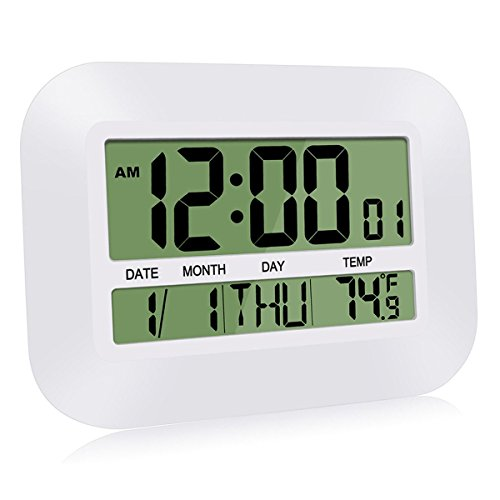 HeQiao Silent Desk Clocks, 12 Inch Digital Wall Clock Battery Operated Simple Large LCD Alarm Clock w/Temperature Calendar Date Day Home Office (Ivory White)
