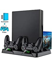 BEBONCOOL PS4 Playstation Vertical Stand Cooling Fan Cooler Fans System Pro Slim Game Controller Holder Charging Station Dock Pad