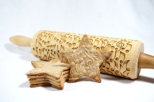 STODOLA Crazy notes - Engraved rolling pin for Embossed cookies 16.9-inch by STODOLA