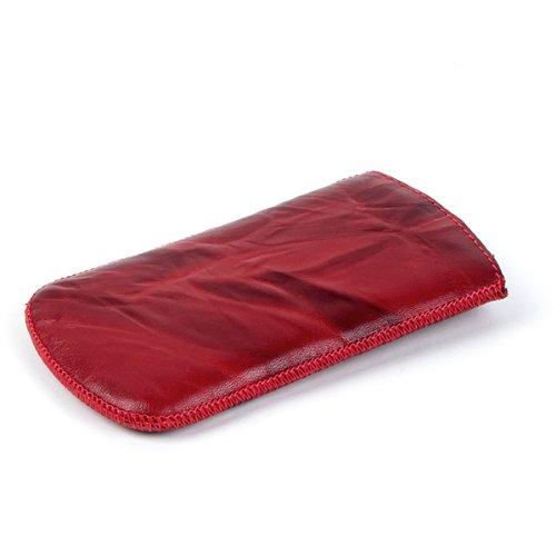 NFE² Echtleder Etui rot mit Ausziehlasche für Apple iPhone 4S
