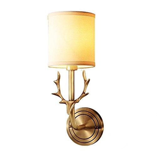 Copper American Deer Head Wall Lamp Living Room Bedroom Bedside Lamp Mirror Lamp Single and Double Head Antler Wall Lamp (Size : Single Head)