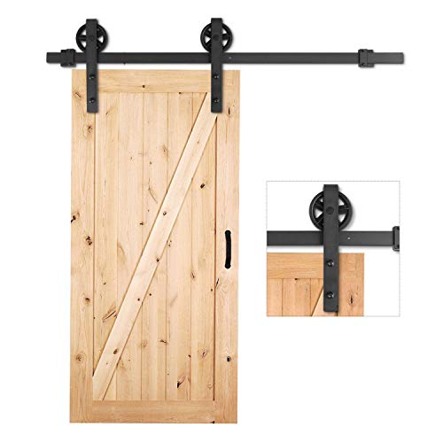 FEMOR 6.6ft Barn Door Hardware - Sliding Heavy Duty Single Rail, Easy Install Roller Track Kit for Bedrooms, Cabinet, Warehouse (Big Wheel Industrial Hangers)